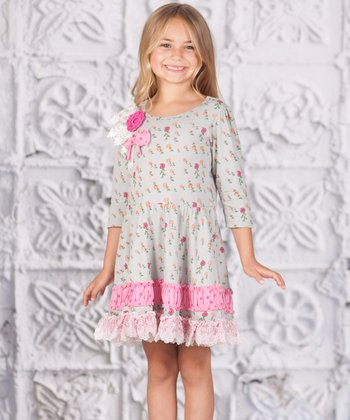 Gray Floral Lace Princess Dress - Toddler