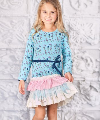 Blue Floral Ruffle Courtney Dress - Toddler & Girls