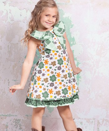 White & Green Monaco Kenzei Dress - Infant, Toddler & Girls