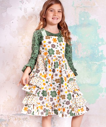 White & Green Monaco Heather Dress - Infant, Toddler & Girls