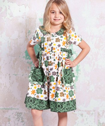 White & Green Monaco Laura Dress - Infant, Toddler & Girls