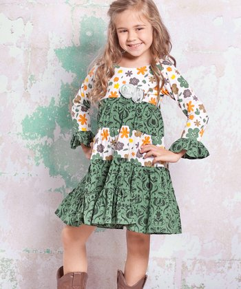 White & Green Monaco Cameron Dress - Infant, Toddler & Girls