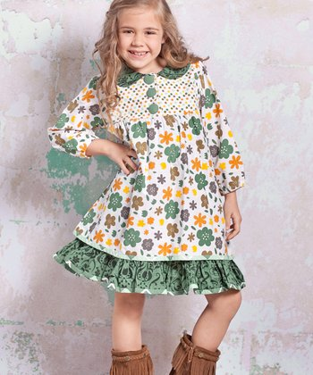 White & Green Monaco Jamie Dress - Toddler & Girls
