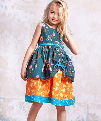 Teal & Orange Agra Tenley Dress - Infant, Toddler & Girls