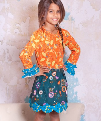 Teal & Orange Agra Lindsay Top & Skirt - Infant, Toddler & Girls