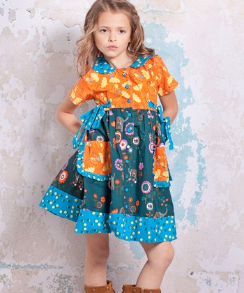 Teal & Orange Agra Laura Dress - Infant & Toddler
