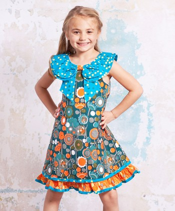 Teal Agra Kenzei Dress - Infant, Toddler & Girls