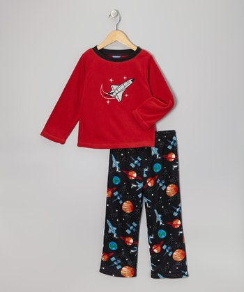 Red Space Fleece Pajama Set - Boys