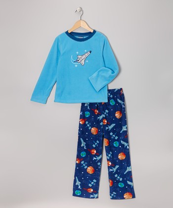 Blue Space Fleece Pajama Set - Boys