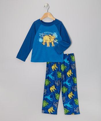 Blue Dino Pajama Set - Boys