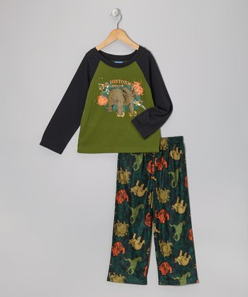 Green Dino Pajama Set - Toddler & Boys
