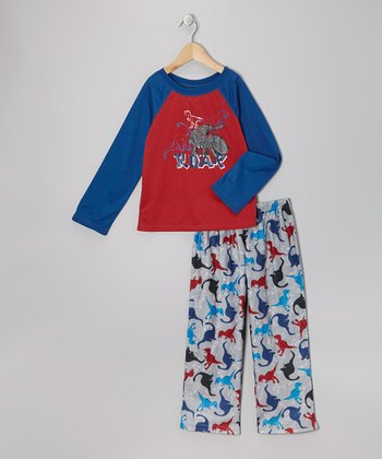 Gray Dino Pajama Set - Boys
