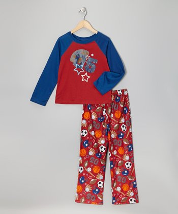 Red & Blue Sport Pajama Set - Boys