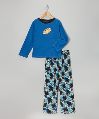 Blue Football Fleece Pajama Set - Toddler & Boys
