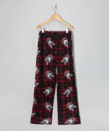 Black & Red Wolf Fleece Pajama Pants - Boys