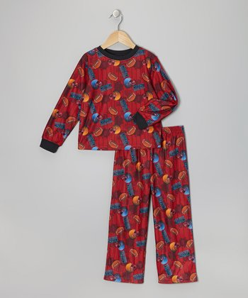 Red Football Flannel Pajama Set - Toddler & Boys