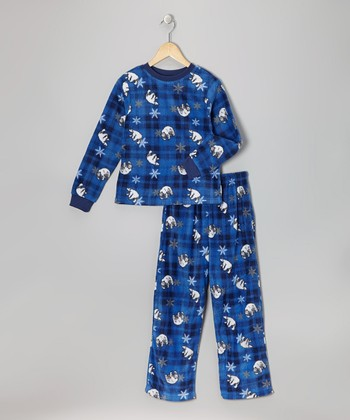 Blue Polar Bear Fleece Pajama Set - Boys