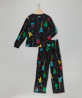 Black Guitar Fleece Pajama Set - Toddler & Boys