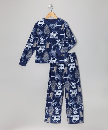 Blue Reindeer Fleece Pajama Set - Toddler & Boys