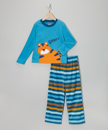 Blue Tiger Fleece Pajama Set - Toddler & Boys
