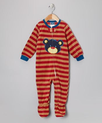 Red Bear Fleece Footie - Infant