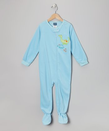 Blue Dino Fleece Footie - Infant & Toddler