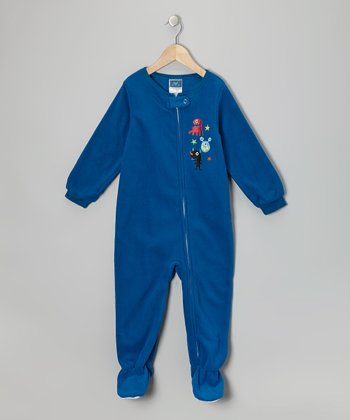 Royal Blue Monster Fleece Footie - Toddler
