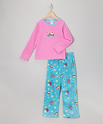Pink & Turquoise Cupcake Fleece Pajama Set - Girls