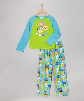 Blue & Lime Owl Pajama Set - Girls