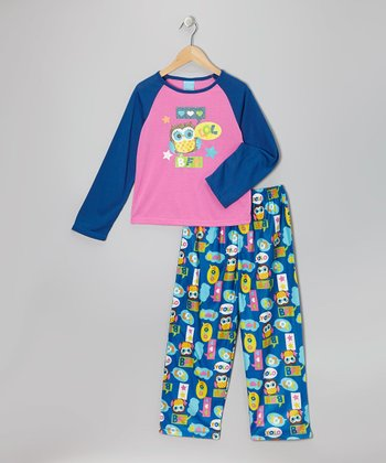 Blue & Pink Owl Pajama Set - Toddler & Girls
