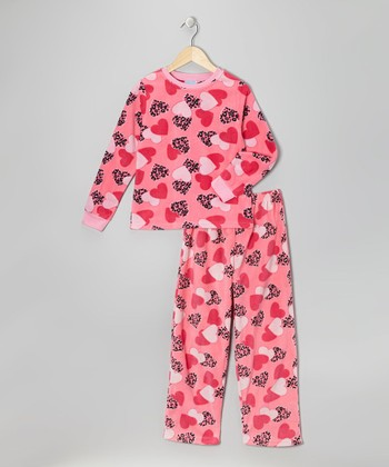 Pink Heart Fleece Pajama Set - Girls
