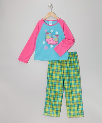 Turquoise Plaid Boot Pajama Set - Girls