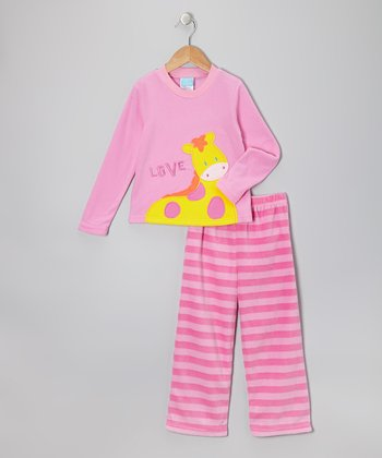 Pink Giraffe Fleece Pajama Set - Infant, Toddler & Girls