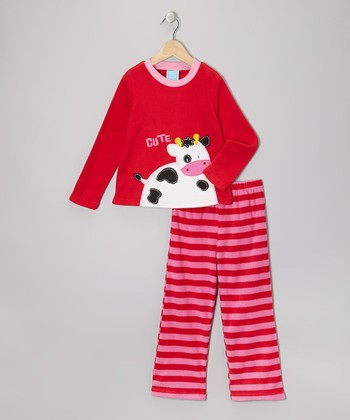 Red Cow Fleece Pajama Set - Toddler & Girls