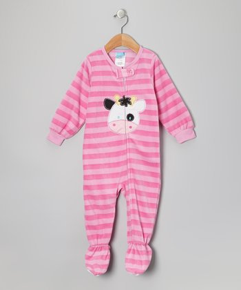 Pink Cow Fleece Footie - Infant
