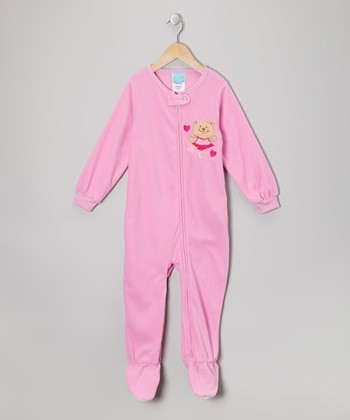 Pink Bear Ballerina Fleece Footie - Infant & Toddler