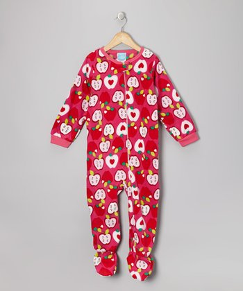 Pink Apple Fleece Footie - Infant & Toddler