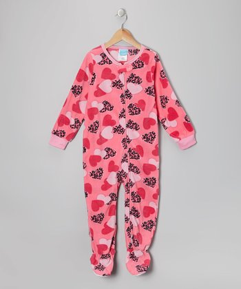 Pink Heart Fleece Footie - Toddler