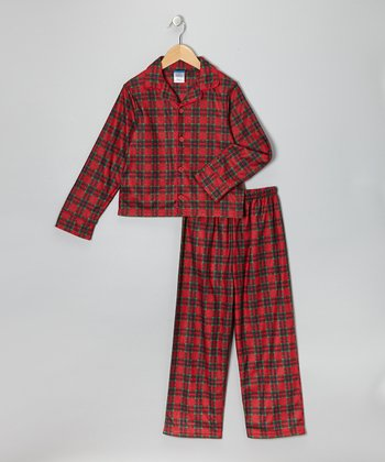 Red Plaid Flannel Pajama Set  - Boys