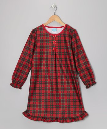 Red Plaid Flannel Nightgown - Toddler & Girls