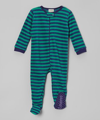 Blue & Green Stripe Fleece Footie - Infant, Toddler & Kids