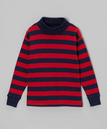 Red & Navy Stripe Turtleneck - Toddler & Girls