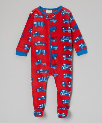 Red & Blue Trucks Fleece Footie - Infant, Toddler & Kids