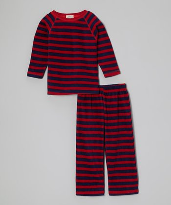 Red & Navy Stripe Pajama Set - Toddler & Kids