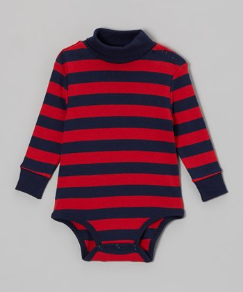 Red & Navy Stripe Turtleneck Bodysuit - Infant
