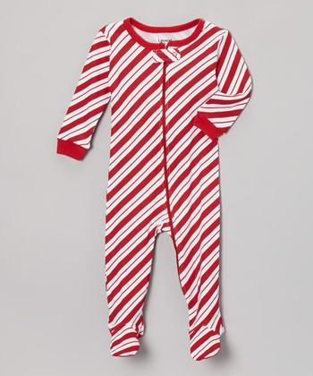 Red Stripe Candy Cane Footie - Infant, Toddler & Kids