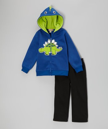 Blue Dinosaur Zip-Up Hoodie & Black Pants - Infant
