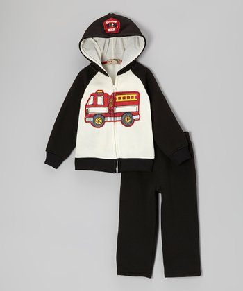 Black & White Fire Truck Zip-Up Hoodie & Pants - Infant & Toddler