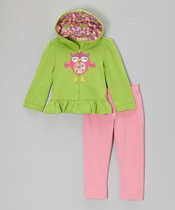 Green Bird Ruffle Zip-Up Hoodie & Pink Leggings - Toddler