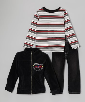 Black Fleece Jacket Set - Infant, Toddler & Boys